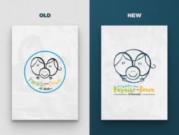Mise en situation de l'ancien & du nouveau logo de Paraíso Down sur 2 posters verticales : l'ancien est sur fond gris clair et le nouveau sur fond bleu foncé