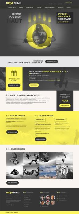 Web design entier de la home page du site Dropzone. On y voit le menu avec logo + slider principal, ainsi que les différentes parties composant cette première : Footer, galerie photos, etc...