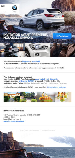Newsletter d'invitation au lancement du BMW X1